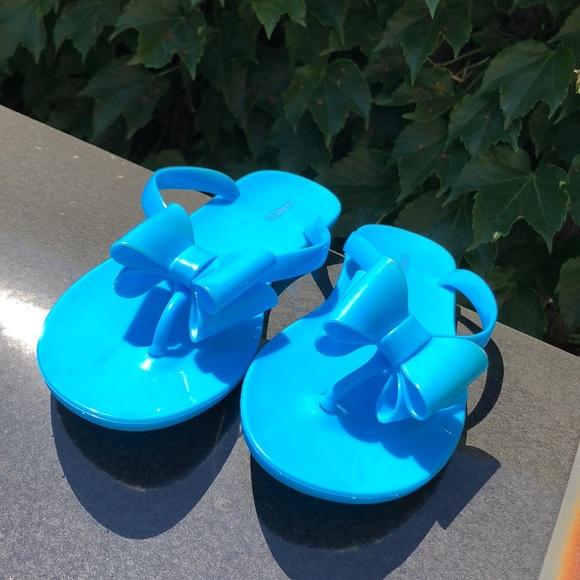 963bc59aeb3421 Super cute blue bow jelly flip flops